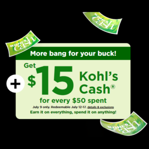 Get $15 in Kohl's Cash on Any $50 Purchase