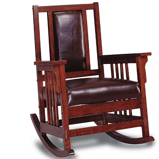 Rocking Chair with Leather Match Seat and Back Tobacco and Dark Brown 2.38 (Was 5)