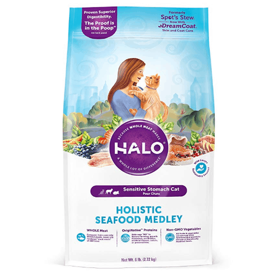 Halo Natural Dry Cat Food, Sensitive Stomach Seafood Medley, 6-Pound Bag Only $16.73