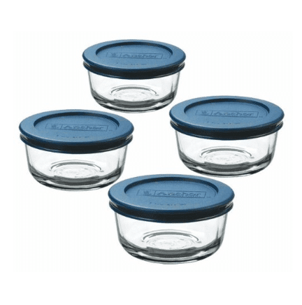 Set of 4 Anchor Hocking Classic Glass Food Storage Containers with Lids .24