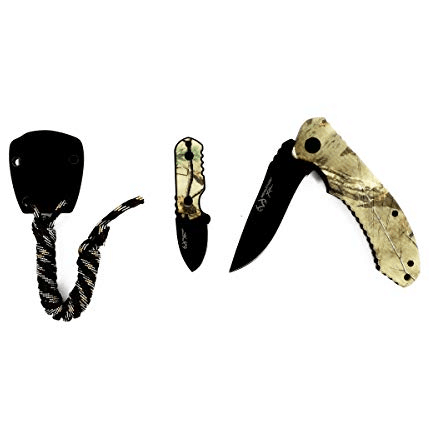 Real Tree Xtra EDC Folding Knife and Neck Knife Sheath with Survival Paracord Combo Pack $15.99