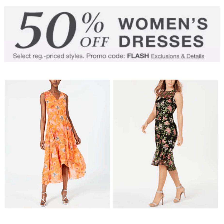 Macy's: EXTRA 50% off Women's Dresses - Cute Dresses from $5.00
