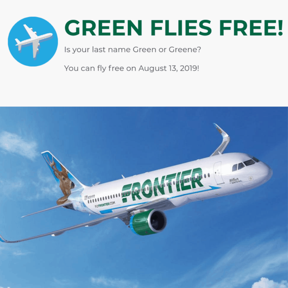 If Your Last Name is Green(e), You Can Fly on Frontier for Free on 8/13