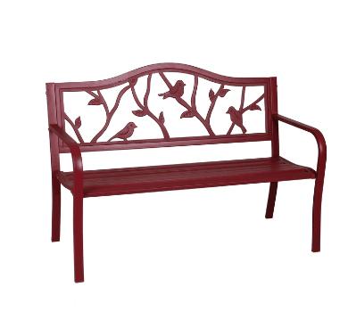 Lowe's: Garden Treasures Red Steel Patio Bench ONLY $50 (Was $128)