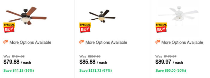 Home Depot: Up to 65% off Outdoor & Indoor Ceiling Fans