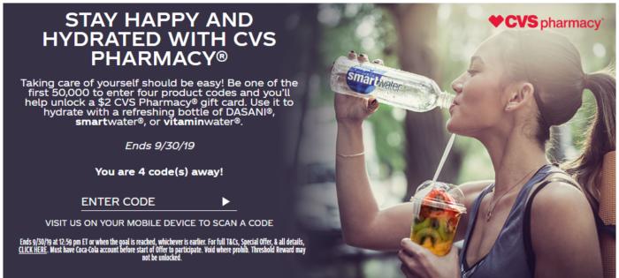 My Coke Rewards: Free  CVS eGift Card for Entering 4 Codes **Select Accounts**