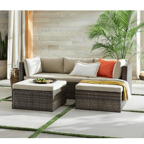 Home Depot: Hampton Bay Valley Peak 3-Piece Wicker Sectional Patio Set w/ Cushions 9 (Was 0)