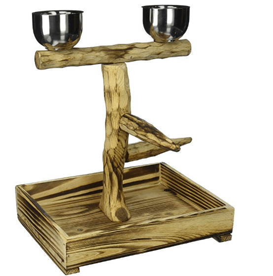 Penn Plax Bird Perch With 2 Stainless Steel Feeding Cups and Wood Drop Tray .37 (Was )