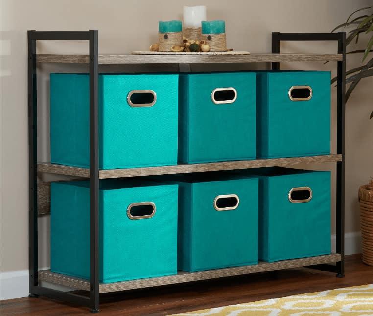 Household Essentials Open Fabric Storage Cube Bins, Aqua