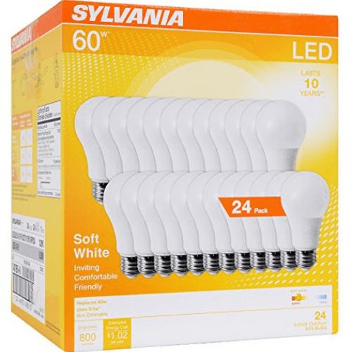 SYLVANIA 8.5W Soft White 2700K 60W Equivalent A29 LED Light Bulb (24 Pack) Only .99