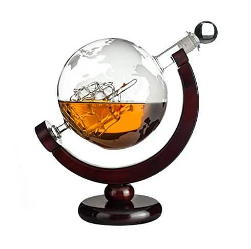 Whiskey Globe Decanter with Antique Dark Finished Wood Stand Now .99 (Was )
