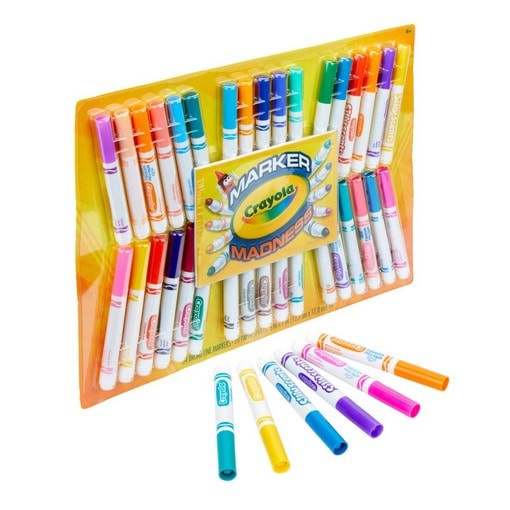 Crayola Marker Madness, 34 Broad Line Markers, Scented & Neon, Now
