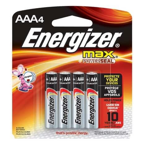 Energizer Max Alkaline AAA Batteries 4 Count .95