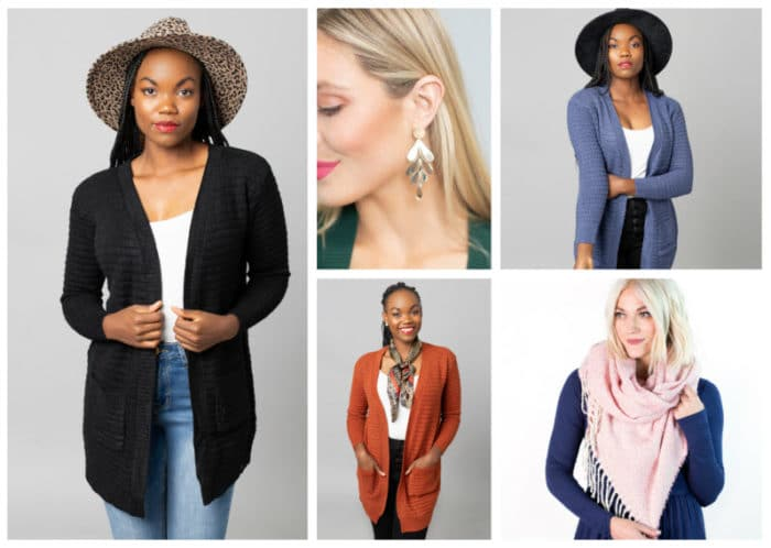 Cardigan, Scarf & Earring Combo ONLY .95 + FREE SHIPPING