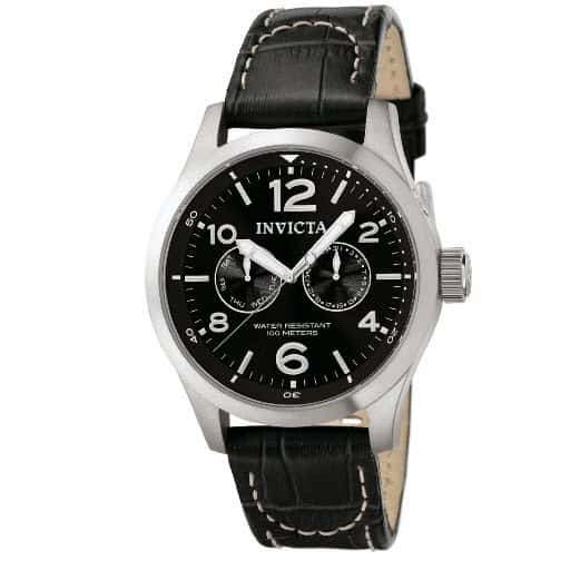 Invicta II Men's Stainless Steel Watch with Black Leather Band .99 (Was )