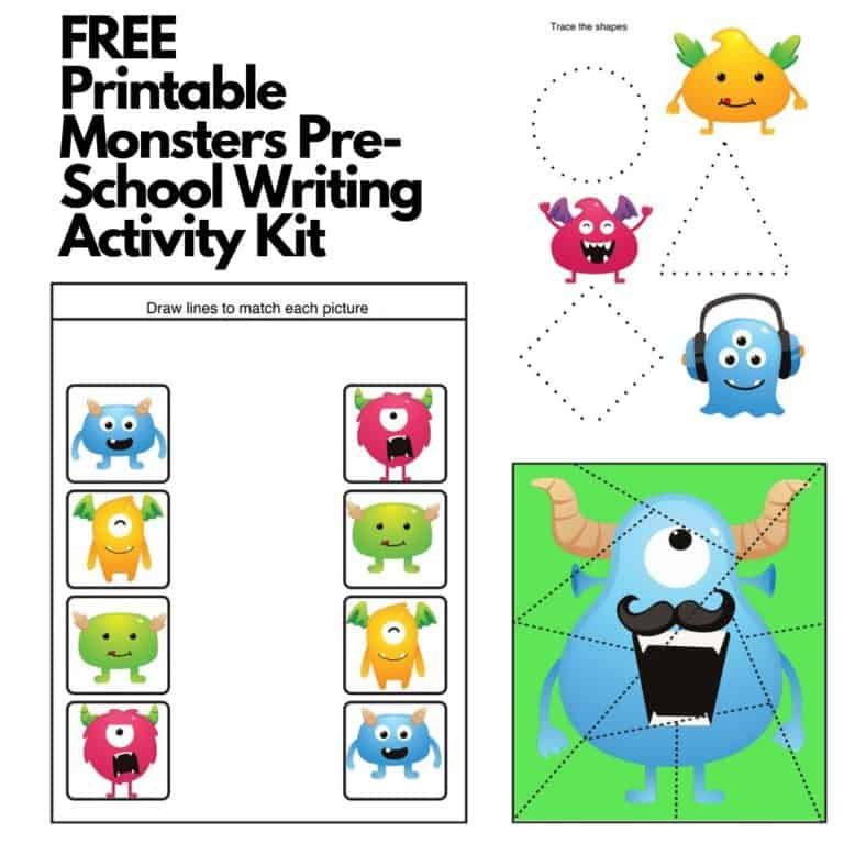FREE Printable Monsters Pre-School Writing Activity Kit
