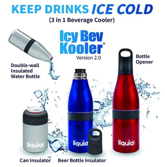 ICY BEV Kooler 2.0 - 3 in 1 Bottle Insulator </br srcset=