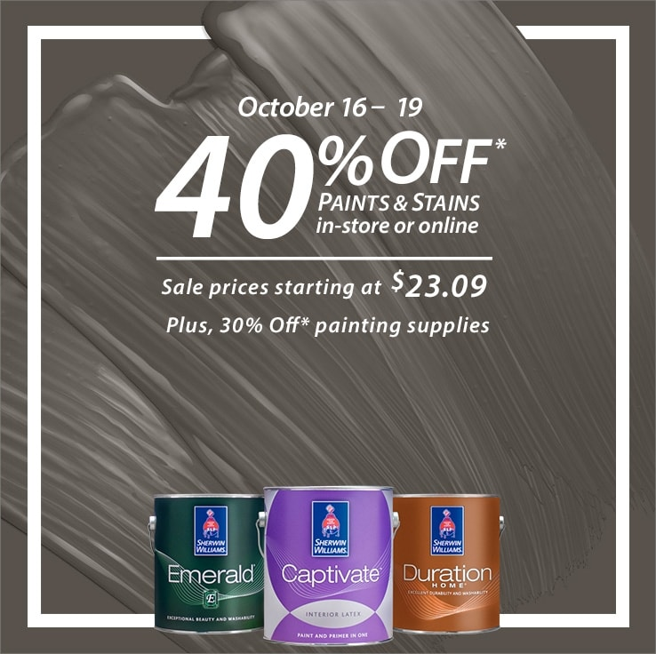 Sherwin Williams Savings: 40% off Paint & Stains +  off