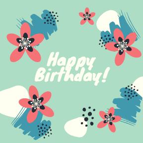 Happy Birthday - green flowers