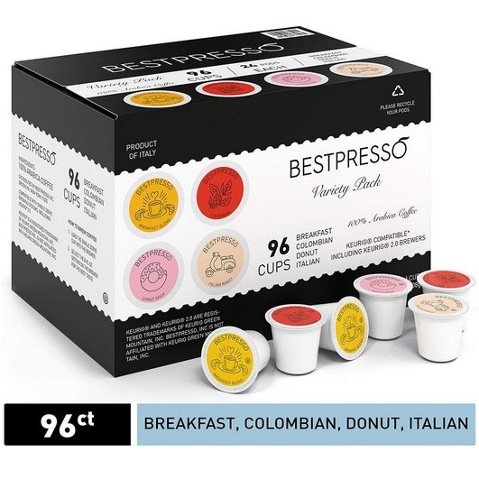 Bestpresso Coffee K-Cup Variety Pack 96 Count Now .45