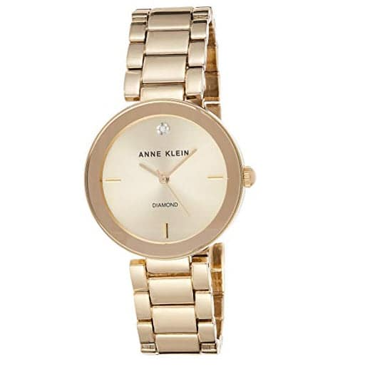 Anne Klein Women's AK/1362CHGB Diamond Dial Gold-Tone Bracelet Watch Now .19 (Was .19)