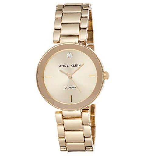 Anne Klein Women's AK/1362CHGB Diamond Dial Gold-Tone Bracelet Watch Now .19 (Was .19)