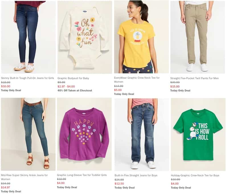 All Old Navy Jeans 50% Off ~ Graphic Tees  for Kids,  for Adults ~ 40% Off Everything