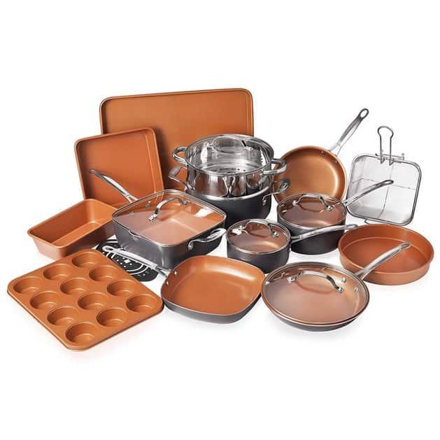 Gotham Steel 20 Piece All in One Kitchen Cookware + Bakeware Set Now 9.99