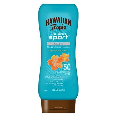 Hawaiian Tropic Island Sport Lotion Sunscreen SPF 50, 8 Oz