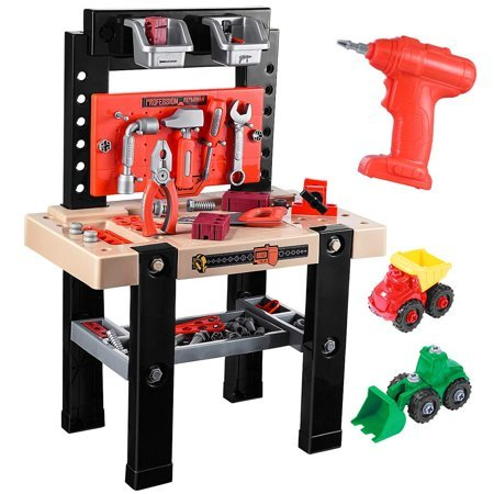 iBaseToy Toy Tool Bench, Kids Power Workbench, 91Piece Construction Toy Bench Set with Electric Drill, Educational Play & Pretend Play Workbench for Toddlers