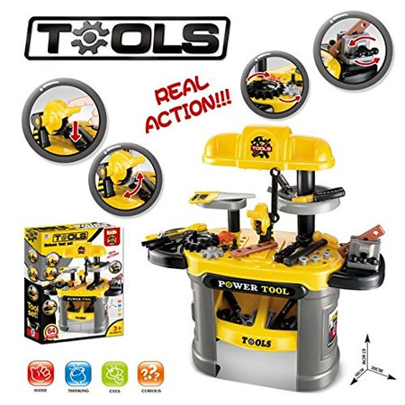 Kids Builders Luxury Tool Workbench Table Workshop 64 Piece Power Tool Bench Construction Toy Set w/ Tools Accessories Toy , Boys & Toddlers Toy Work Shop Tools Workbench for Kids