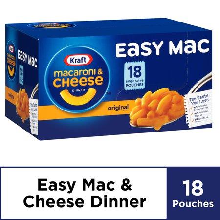 Kraft Easy Mac Original Flavor Single Serve Pouches, 18 ct - 38.7 oz Box Now $5.51
