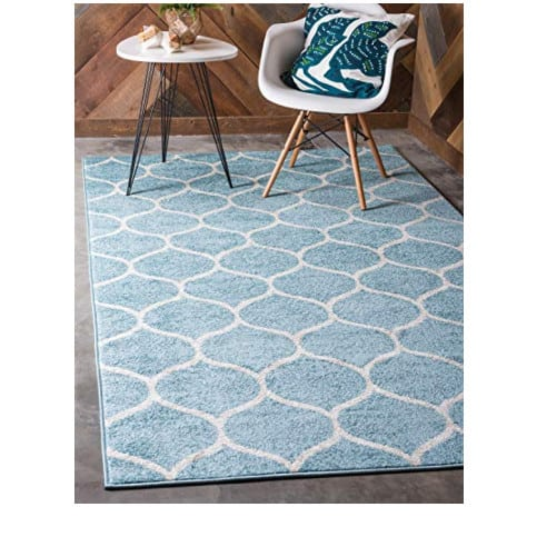 Unique Loom Moroccan Geometric Modern Light Blue Area Rug (4' 0 x 6' 0) Now .99 (Was 8)