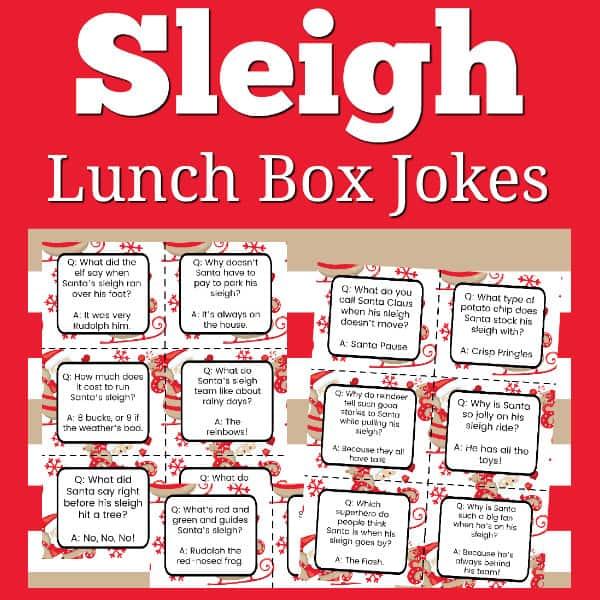 FREE Printable Sleigh Lunch Box Jokes