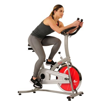 Sunny Health & Fitness Indoor Cycling Exercise Bike with LCD Monitor, 22 LB Flywheel, 220 LB Max Weight- SF-B1203