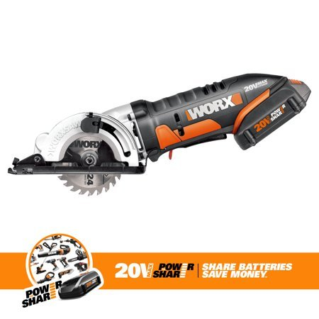 "WORX WX523L 20V Cordless Circular Saw With 3-3/8"" Blade"