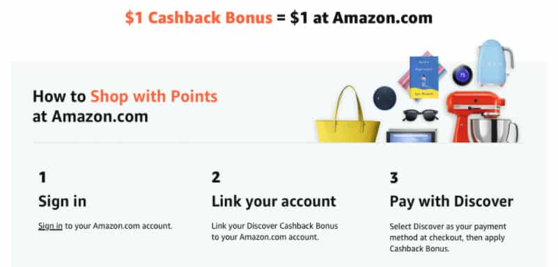 Discover Cardholders Pay w/ Points on Amazon, Get  off