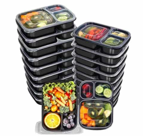 20 Pack of 3 Compartment Meal Prep Container Pack with Lids Now .99 (Was .99)