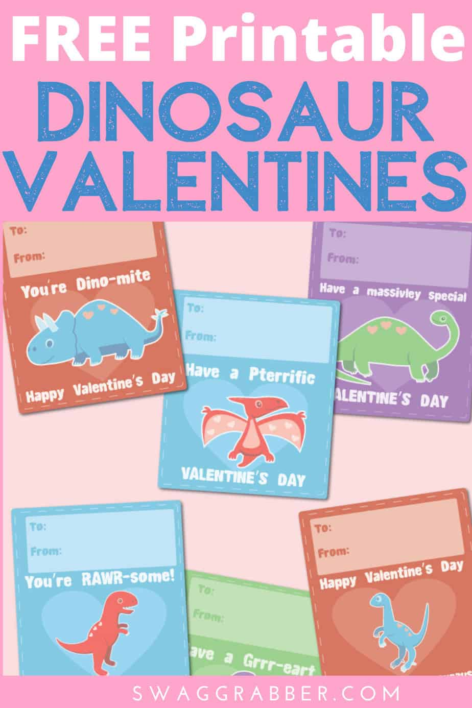 FREE Printable Dinosaur Valentine's Day Cards for School