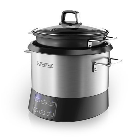 BLACK+DECKER All-In-One Cooking Pot and Rice Cooker, Stainless Steel, RCR520S