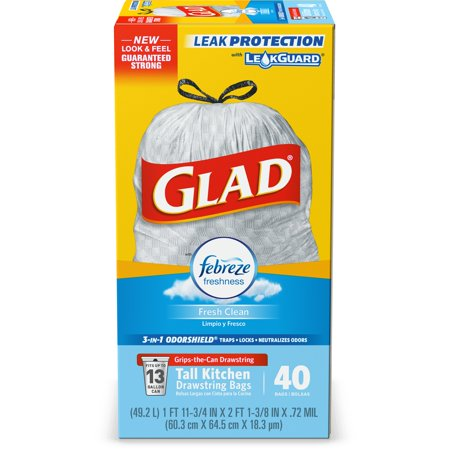 Glad OdorShield Tall Kitchen Drawstring Trash Bags 80-Count Now $9.10 (Was $15.40)