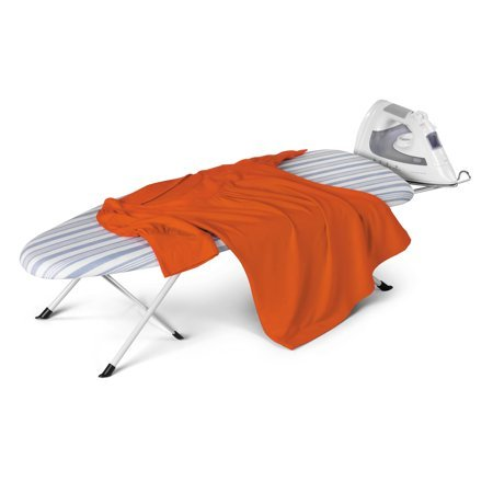 Honey Can Do Portable Folding Tabletop Ironing Board, White/Blue