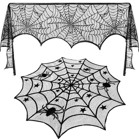 AerWo 40-Inch Black Spider Halloween Lace Table Topper Now $6.59