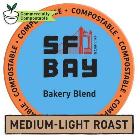 SF Bay Coffee OneCup, Bakery Blend (24 Count) Single Serve Coffee K-Cup Pods Keurig Compatible, Commercially Compostable