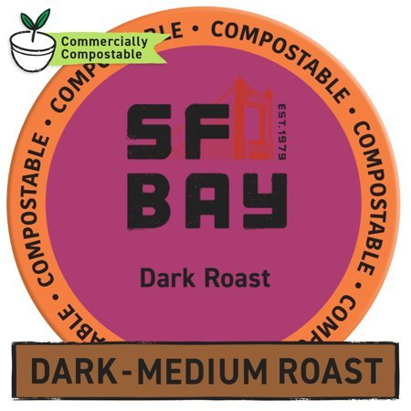 SF Bay Coffee OneCup, Dark Roast (24 Count) Single Serve Coffee K-Cup Pods Keurig Compatible, Commercially Compostable