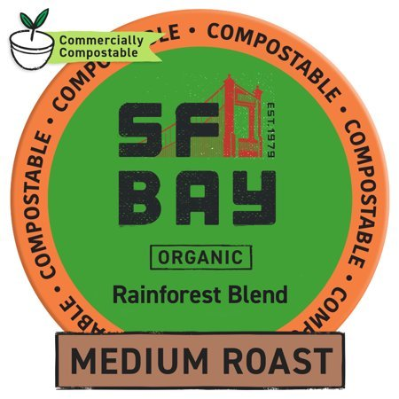 SF Bay Coffee Organic Rainforest Blend 80 Ct Medium Roast Compostable Coffee Pods, K Cup Compatible including Keurig 2.0