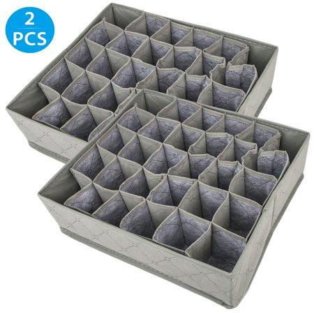 Socks Storage, EEEKit 2-Pack 30 Compartment Folding Bamboo Charcoal Underwear Tie Necktie Socks Drawer Organizer Divider Storage Box