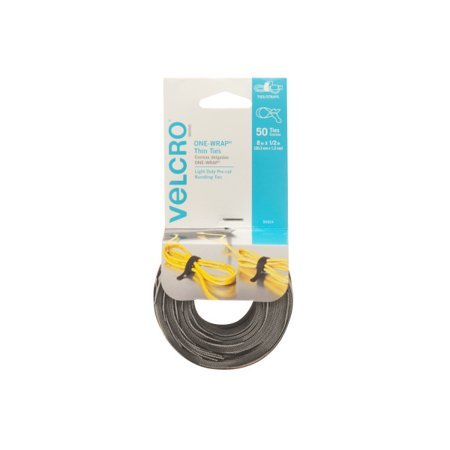 VELCRO® Brand ONE-WRAP® Thin Ties 8in x 1/2in Ties Cable Ties Gray & Black 50 ct