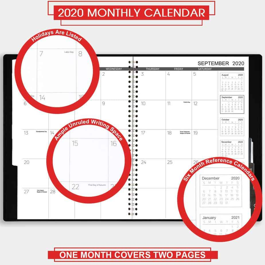 2020 Monthly Planner with Faux Leather Soft Cover Now .99 (Was .99)