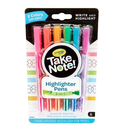 Crayola Take Note Dual Tip Highlighter Pens 6 Count Now .47 (Was .99)